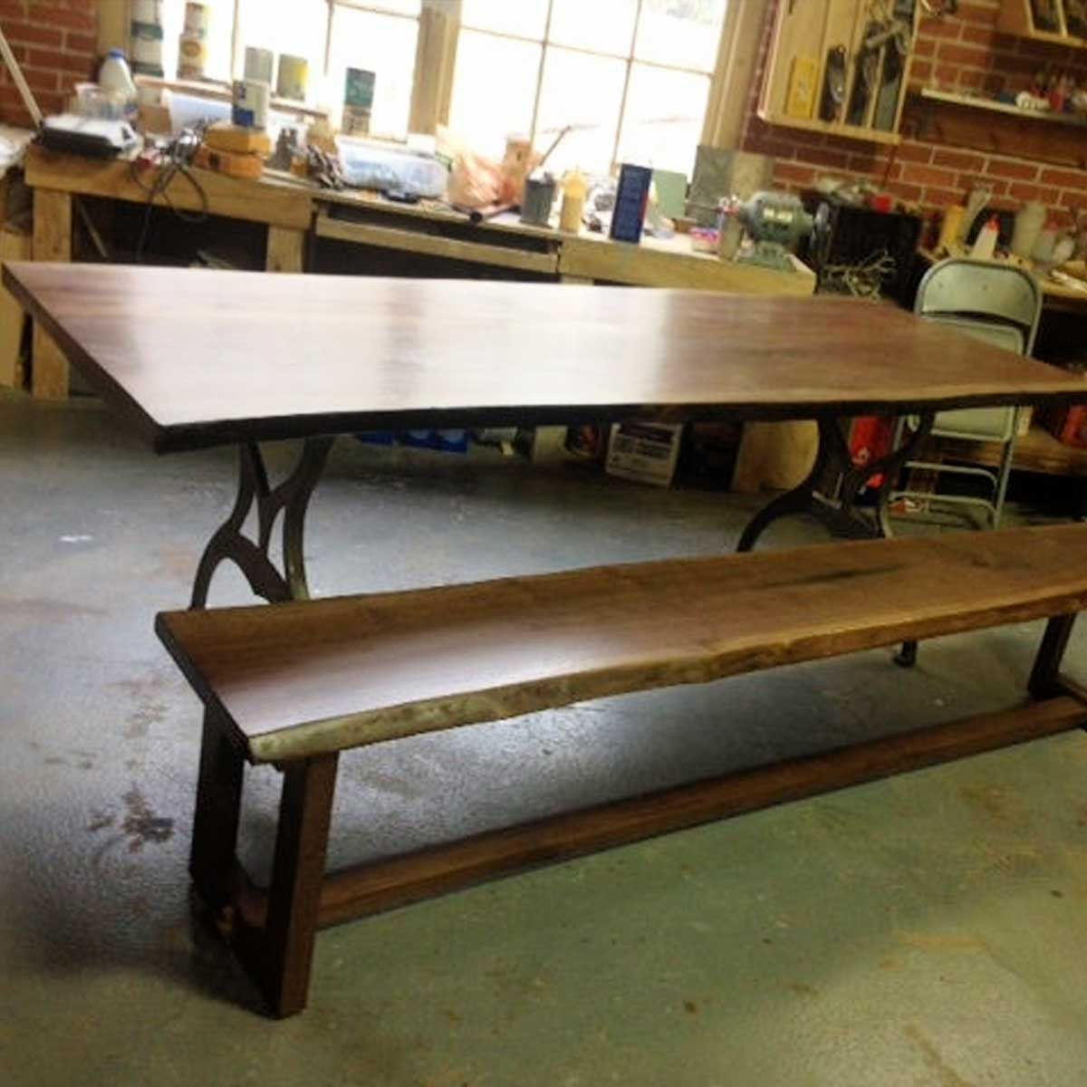 Live Edge Farm Style Table and Bench, Local Walnut