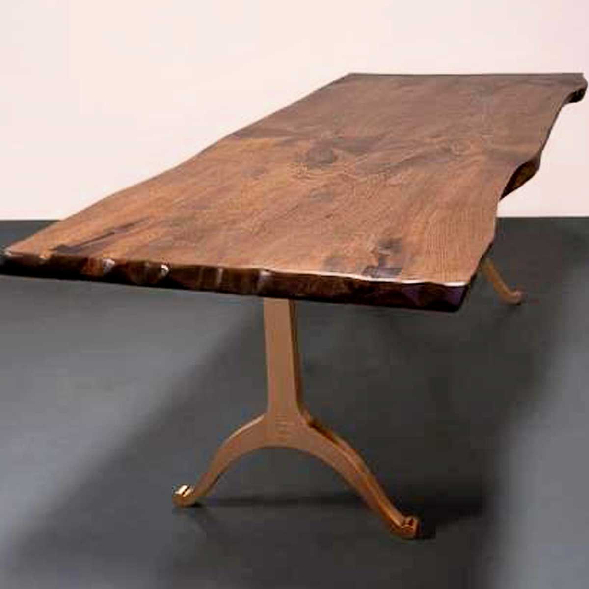 Live edge butternut industrial style dining table