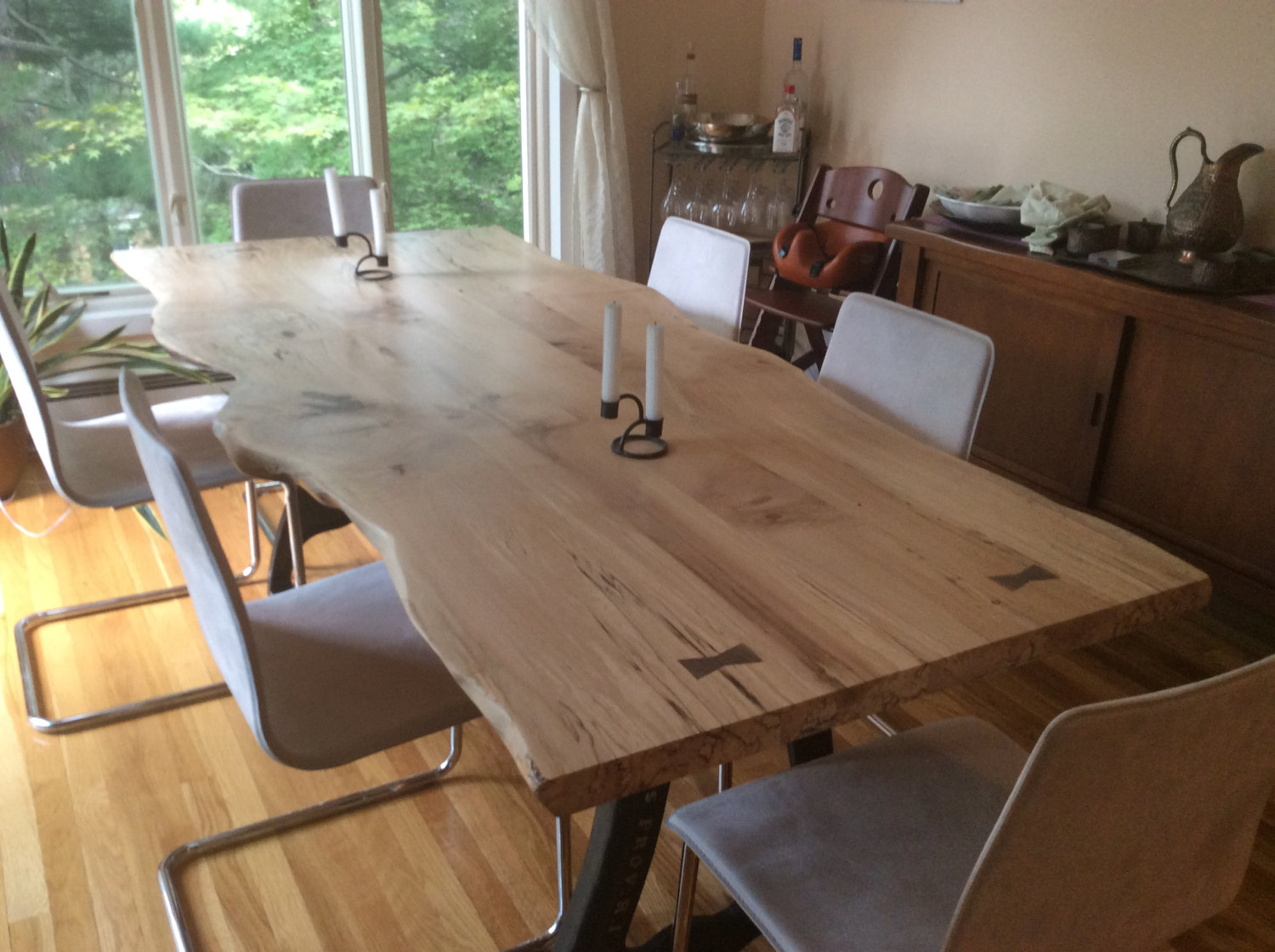 Live Edge Dining Table, Local Spalted Hard Maple