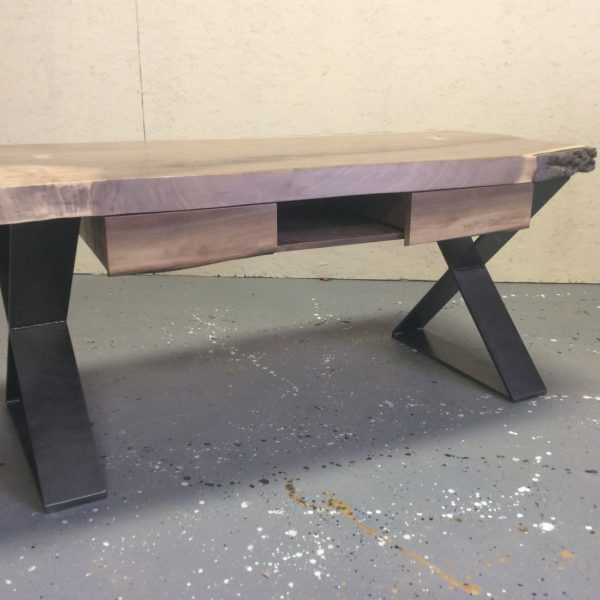 Live Edge Walnut Coffee Table With Drawers And Flat Steel X Base U2013 Studio 4