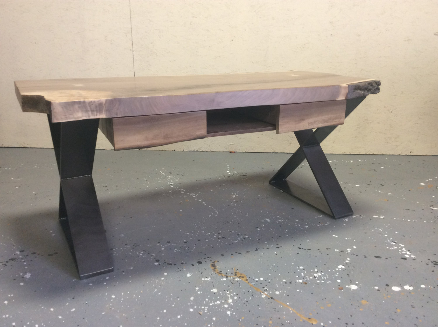 Live edge Walnut coffee Table with drawers and flat steel X base